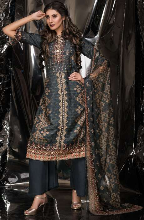 Designer Exclusive Tussar Silk and Crepe Salwar Suit Sets In Multi & Greyish Green - MUK2520