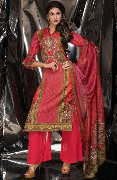Designer Exclusive Tussar Silk and Crepe Salwar Suit Sets In Multi & Red - MUK2522