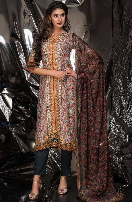 Designer Exclusive Tussar Silk and Crepe Salwar Kameez In Multi & Greyish Black - MUK2524