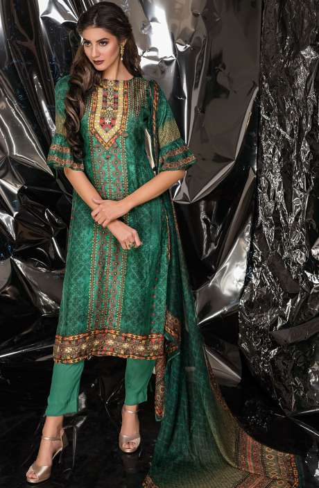 Designer Exclusive Tussar Silk and Crepe Salwar Kameez In Multi & Green - MUK2525