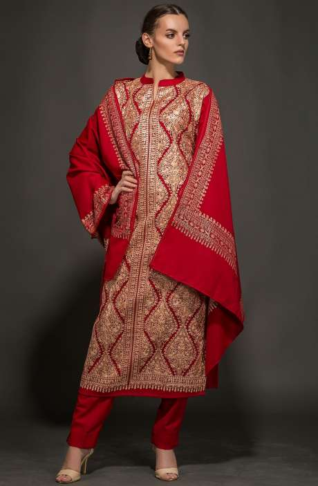 Designer Pashmina Embroidered Exclusive Christmas Special Red Salwar Kameez - NAA1837