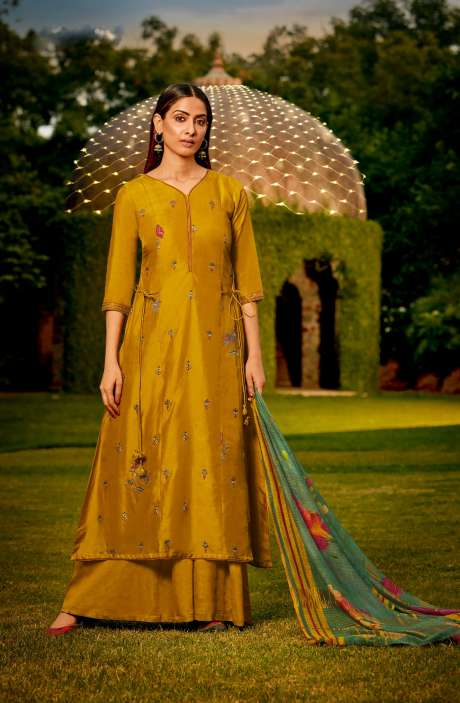 Muslin Silk Festive Salwar Kameez In Mustard with Beautiful Dupatta - NAA2201