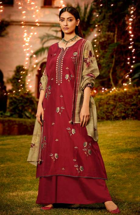Muslin Silk Festive Salwar Kameez In Maroon with Beautiful Dupatta - NAA2202