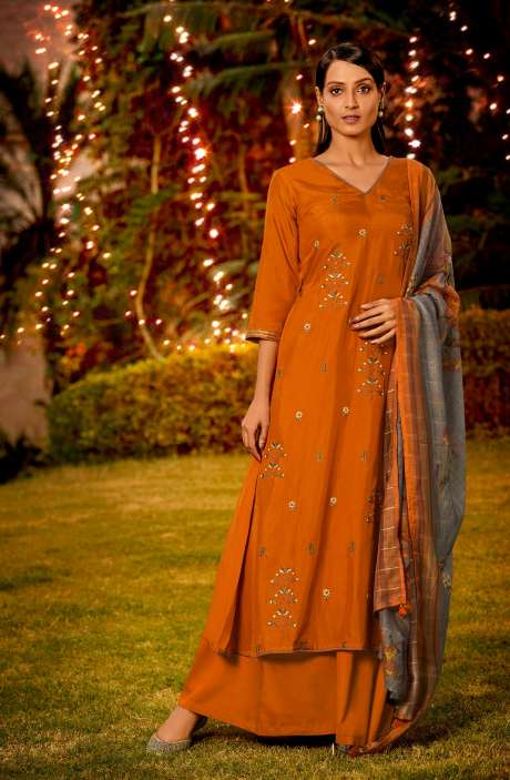 Muslin Silk Festive Salwar Kameez In Orange with Beautiful Dupatta - NAA2203
