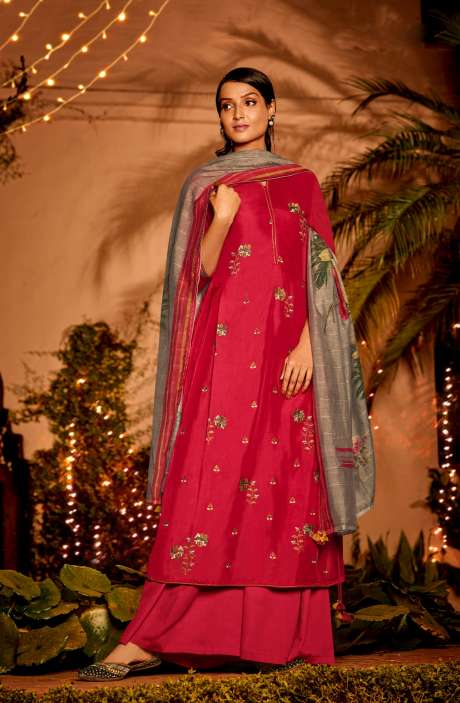 Muslin Silk Festive Salwar Kameez In Rose Red with Beautiful Dupatta - NAA2204