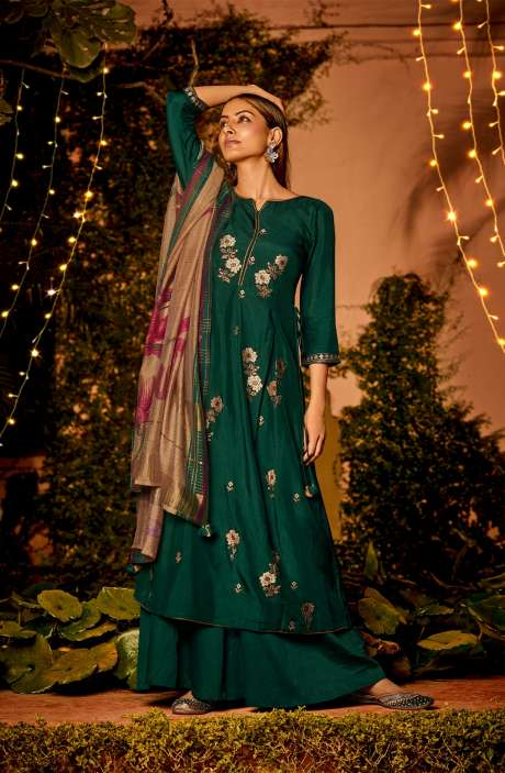 Muslin Silk Festive Salwar Kameez In Bottle Green with Beautiful Dupatta - NAA2207