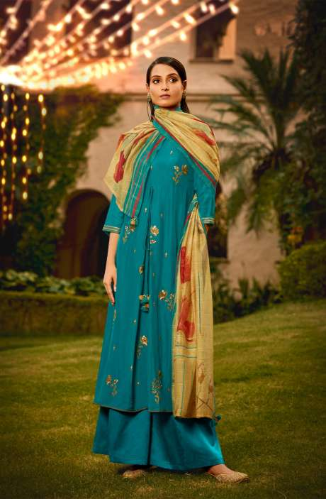 Muslin Silk Festive Salwar Kameez In Firozi with Beautiful Dupatta - NAA2208