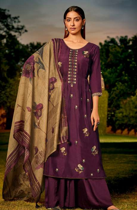 Muslin Silk Festive Salwar Kameez In Wine with Beautiful Dupatta - NAA2209