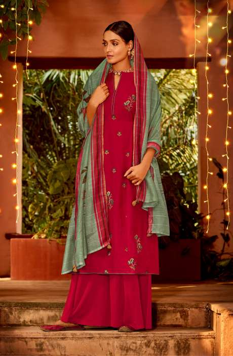 Muslin Silk Festive Salwar Kameez In Coral with Beautiful Dupatta - NAA2210