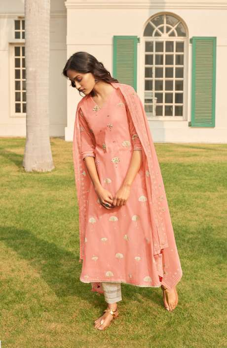 Cotton Block Print Salwar Suit Dupatta In Peach & Cream - NAZ5725