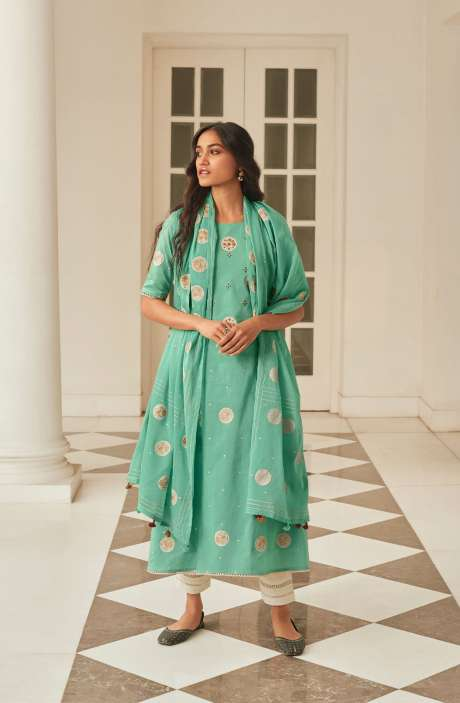 Cotton Block Print Salwar Suit Dupatta In Sea Green & Cream - NAZ5726