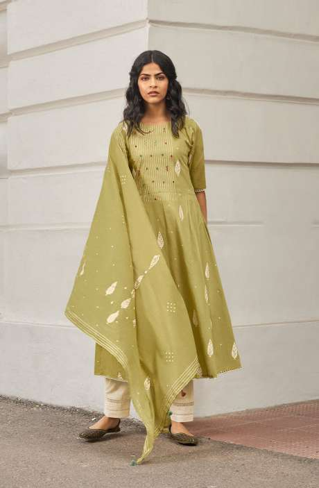 Cotton Block Print Salwar Suit Dupatta In Mehndi & Cream - NAZ5727