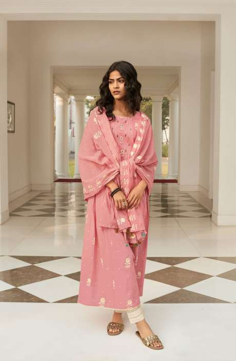 Cotton Block Print Salwar Suit Dupatta In Pink & Cream - NAZ5729