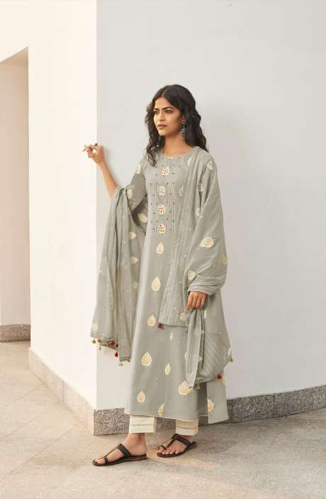 Cotton Block Print Salwar Suit Dupatta In Grey & Cream - NAZ5730