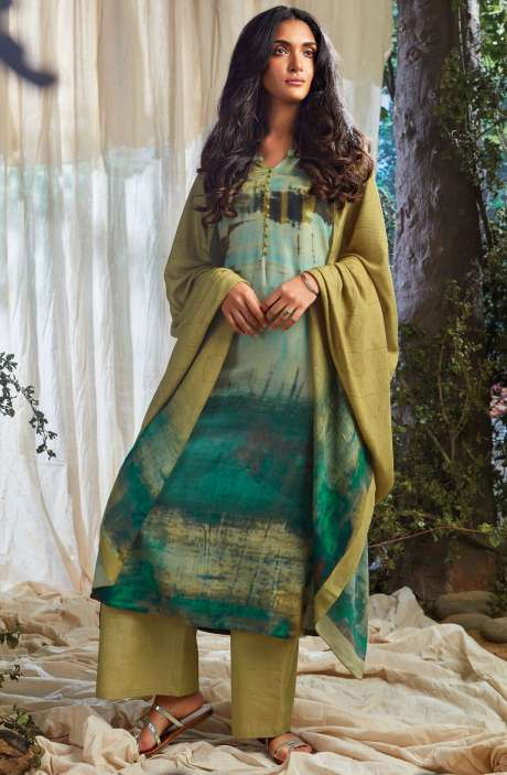 Designer Spun Cotton Winter Collection Digital Print with Sequence Work Salwar Suit In Multi-coloured and Green - NAA6641