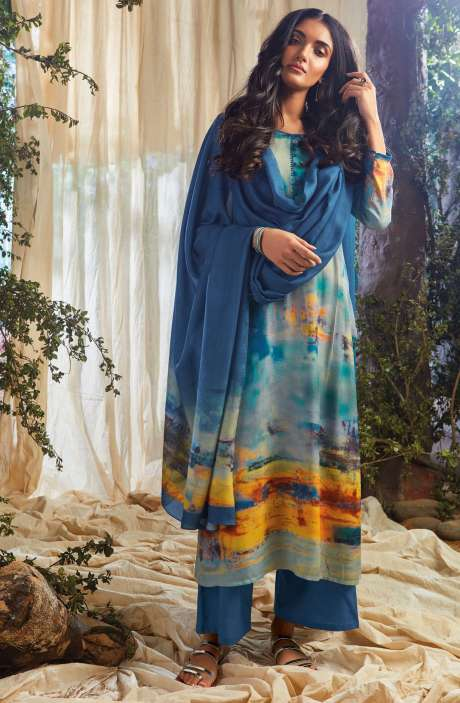 Designer Spun Cotton Winter Collection Digital Print with Sequence Work Salwar Suit In Multi-coloured and Blue - NAA6643