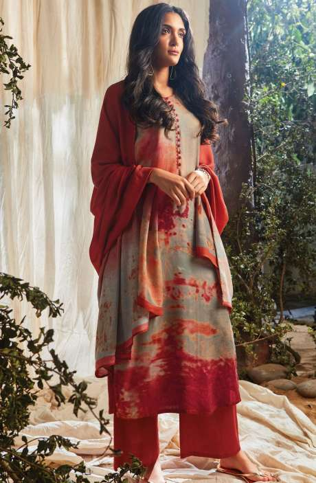 Designer Spun Wool Winter Collection Digital Print with Sequence Work Salwar Suit In Multi-coloured and Rust - NAA6649