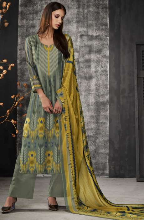 Digital Print Chanderi Silk Salwar Kameez In Mehndi - NAI6913
