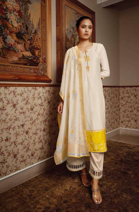 Modal Silk Unstitched Salwar Kameez Dupatta In Cream - NESC0406