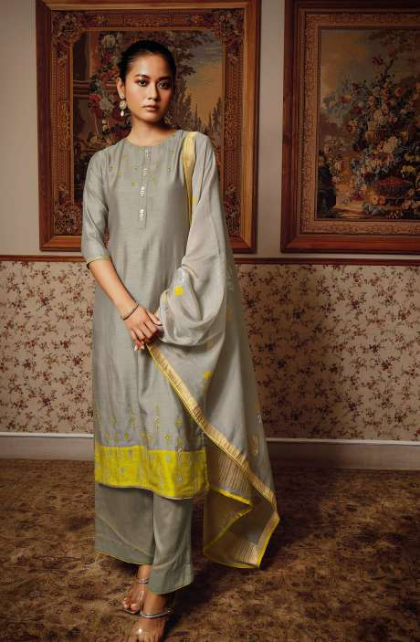 Modal Silk Unstitched Salwar Kameez Dupatta In Grey - NESC0408