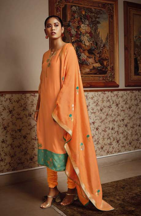 Modal Silk Unstitched Salwar Kameez Dupatta In Orange - NESC0410