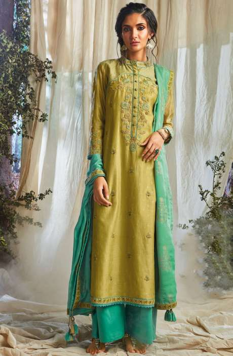 Festive Special Khadi Print with Embellished Work Designer Chanderi Suit Sets In Mehndi Green - NAT6619