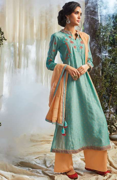Partywear Khadi Print with Embellished Work Designer Chanderi Suit Sets In Pastel Green - NAT6620-R