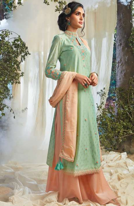 Festive Special Khadi Print with Embellished Work Designer Chanderi Suit Sets In Mint Green - NAT6623