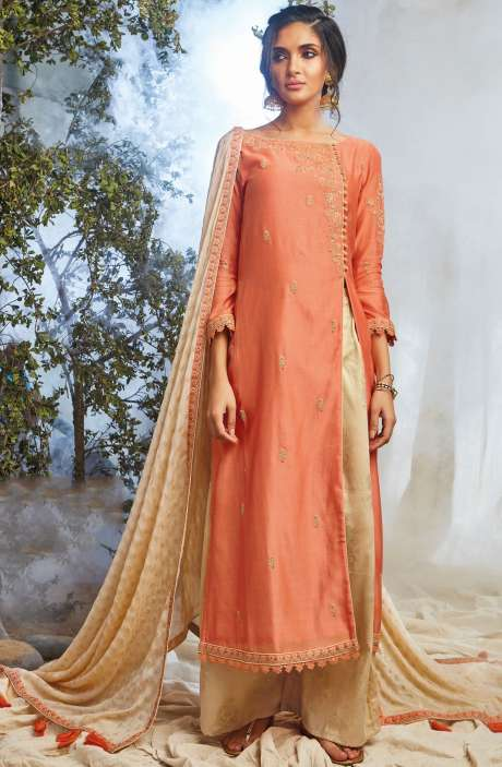 Partywear Khadi Print with Embellished Work Designer Chanderi Suit Sets In Orange - NAT6624-R