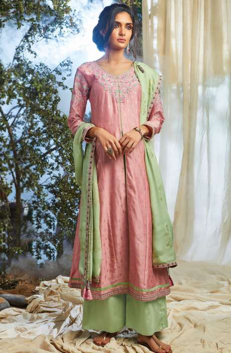 Partywear Khadi Print with Embellished Work Designer Chanderi Suit Sets In Pink and Mint Green - NAT6625-R