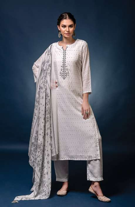 Muslin Silk Exclusive Unstitched Trendy Suit Set with Dupatta - NAW7032