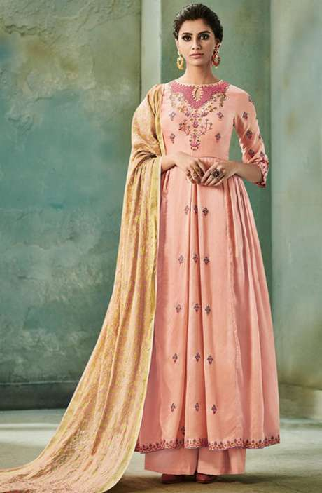 Designer Chanderi Cotton Heavy Embroidered Salwar Suit Sets with Embellished Work  In Peach - NAZ1622
