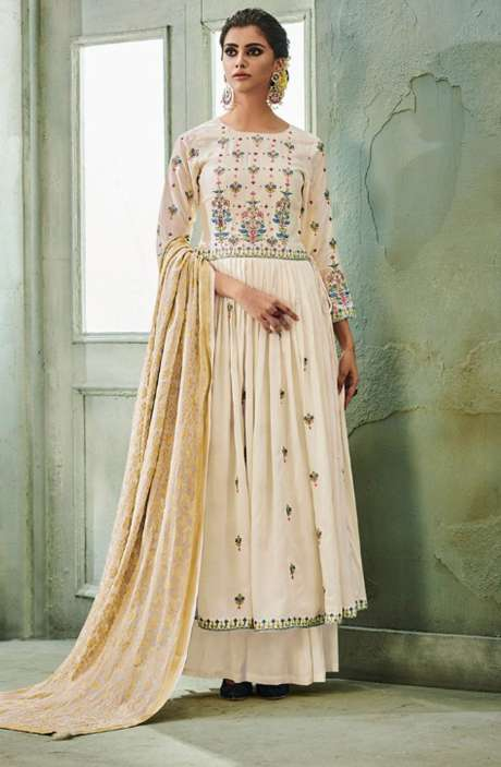 Designer Chanderi Cotton Heavy Embroidered Salwar Suit Sets with Embellished Work  In Cream - NAZ1624
