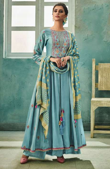 Designer Chanderi Cotton Heavy Embroidered Salwar Suit Sets with Embellished Work  In Firozi - NAZ1625