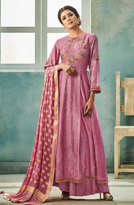 Designer Chanderi Cotton Heavy Embroidered Salwar Suit Sets with Embellished Work  In Mauve - NAZ1627