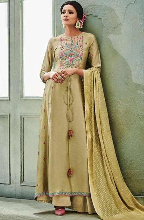 Designer Chanderi Cotton Heavy Embroidered Salwar Kameez Sets with Embellished Work  In Mehndi - NAZ1628