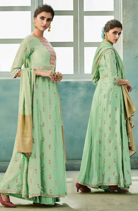 Designer Chanderi Cotton Heavy Embroidered Salwar Suit Sets with Embellished Work  In Green - NAZ1629