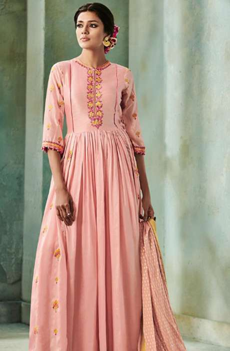 Designer Chanderi Cotton Heavy Embroidered Salwar Kameez with Embellished Work  In Peach - NAZ1631