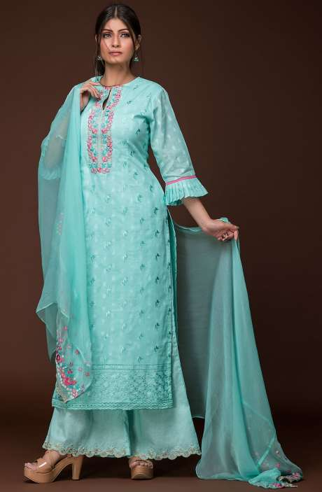 Designer Ready to Wear Embroidered Cotton Jacquard Kameez with Palazzo In Sea Green - FIZ1680A