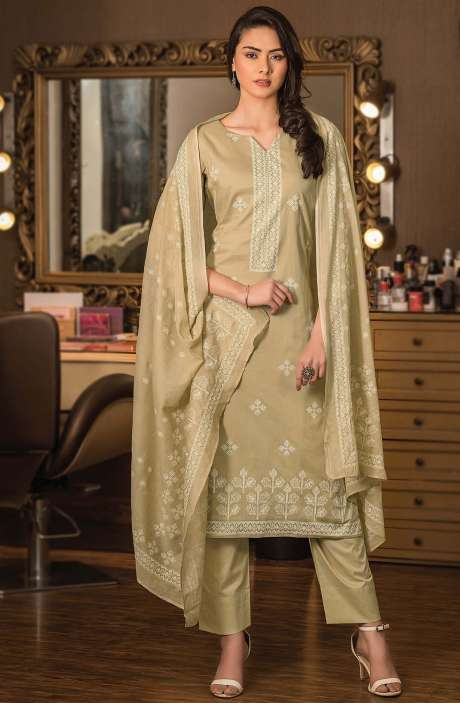 Cotton Block Printed Unstitched Dress Material Fabric in Beige - NAZ1691