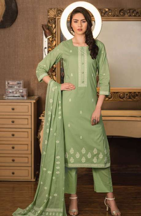 Cotton Block Printed Unstitched Dress Material Fabric in Green - NAZ1692