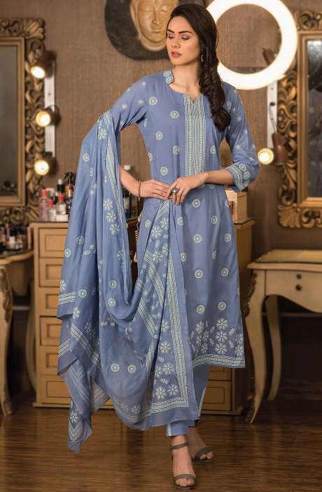 Cotton Block Printed Unstitched Dress Material Fabric in Light Blue - NAZ1693
