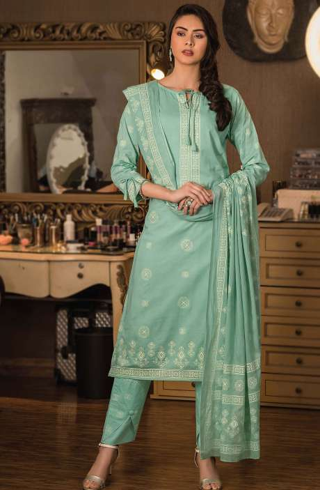 Cotton Block Printed Unstitched Dress Material Fabric in Sea Green - NAZ1696
