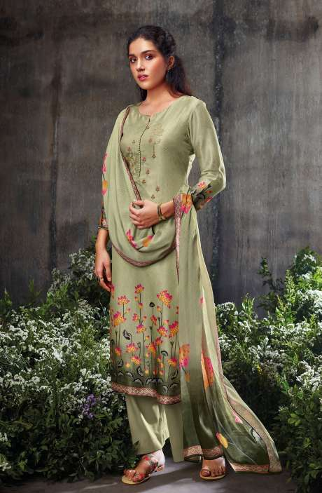Beautiful Russian Silk Digital Printed Suit-sets In Pista Green with Chinon Dupatta - NESC0482