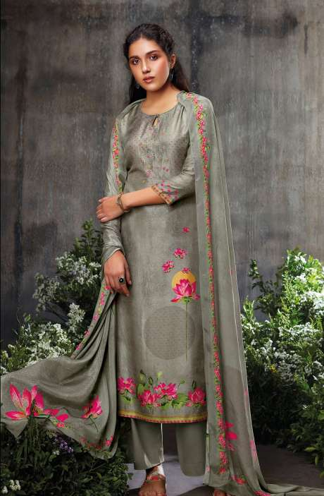 Beautiful Russian Silk Digital Printed Suit-sets In Grey with Chinon Dupatta - NESC0485
