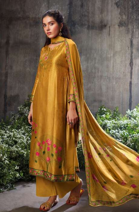 Beautiful Russian Silk Digital Printed Suit-sets In Mustard with Chinon Dupatta - NESC0486