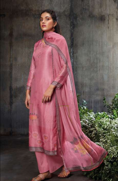 Beautiful Russian Silk Digital Printed Suit-sets In Pink with Chinon Dupatta - NESC0487