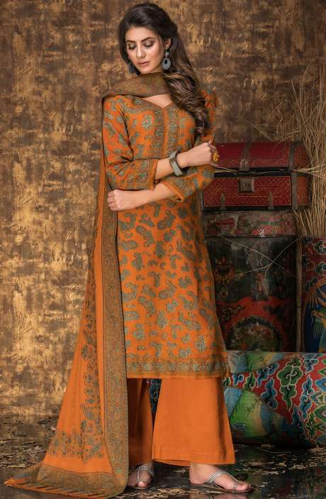 Tacfab Exclusive Spun Wool Winter Wear Digital Print Salwar Suit with Stole In Orange - NIL1693A-R