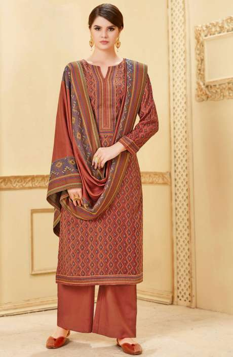 Winter Collection Pashmina Wool Digital Print Rust Salwar Kameez - NIL1696A