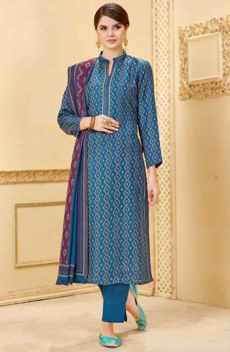 Winter Collection Pashmina Wool Digital Print Blue Salwar Kameez - NIL1696B